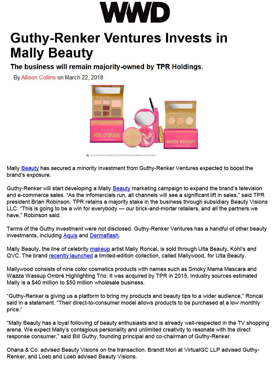Guthy Renker Ventures Invests in Mally Beauty 1