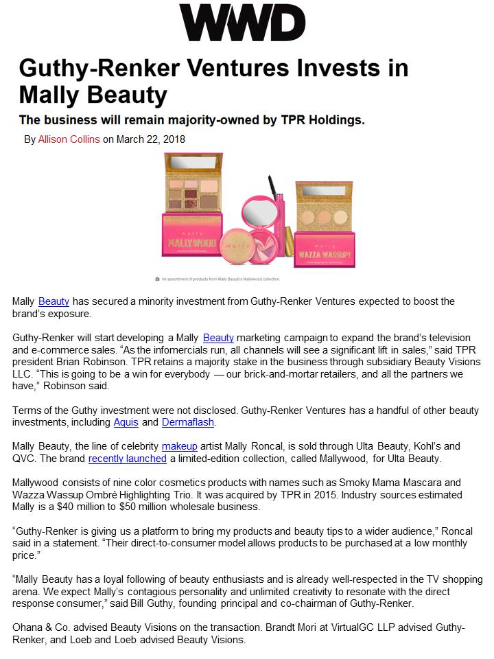 Guthy-Renker Ventures Invests in Mally Beauty